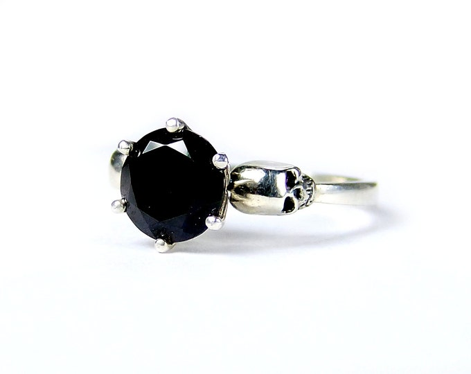 Skull Engagement Ring with Black Stone in Sterling Silver - All Sizes