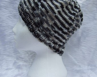 Hand knitted beanie hat in black and cream for children or teenagers - boys beanie - woolly hat - winter hat - knitwear