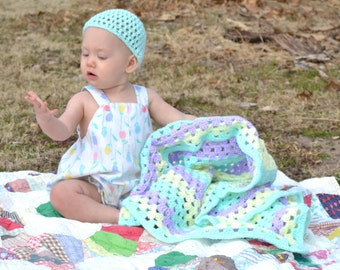Alice Blue Hat and Afghan Set Crochet Baby Hat and Pastel Granny Square Swaddling Blanket Lavender Yellow Aqua Seafoam Shower Nursery Decor