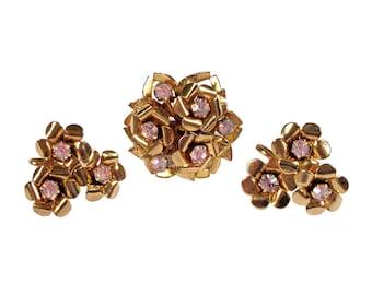 Vintage Coro Brooch & Earrings Set Purple Pink Rhinestones