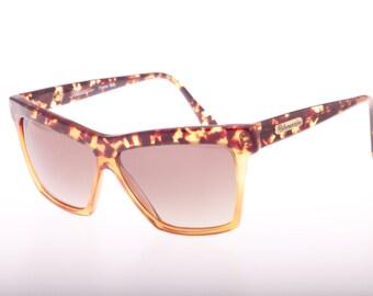 Blumarine vintage 80s diva squared cateye - wayfarer bicolor sunglasses, made in Italy NOS