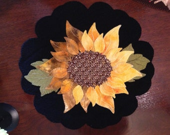 Beautiful Sunflower Pre Cut Wool Applique Kit