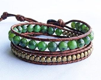 Jade Wrap Bracelet, Nephrite, Jade Jewelry, Brass Beaded Leather Bracelet