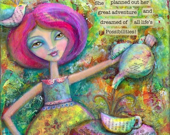 Teatime Dreams: Print of an Exuberant Multicolored Mixed Media Painting celebrating the Joy of Simple Pleasures and New Beginnings