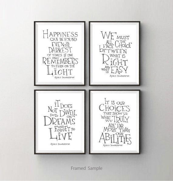 Albus Dumbledore quote print set of 4 - Harry Potter art print  - inspirational wall art , kids room decor, dorm decor