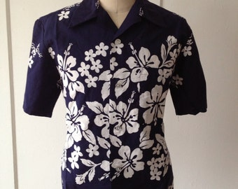Vintage Navy Blue Hawaiian Shirt by Ui-Maikai Size Large