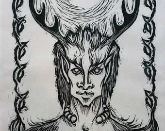 Pagan Portrait: Cernunnos, Celtic Lord of Animals, original hand-pulled linocut relief print on Thai Kozo paper