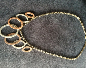 Metal Necklace, Ring Necklace, Large Necklace, Summer Necklace