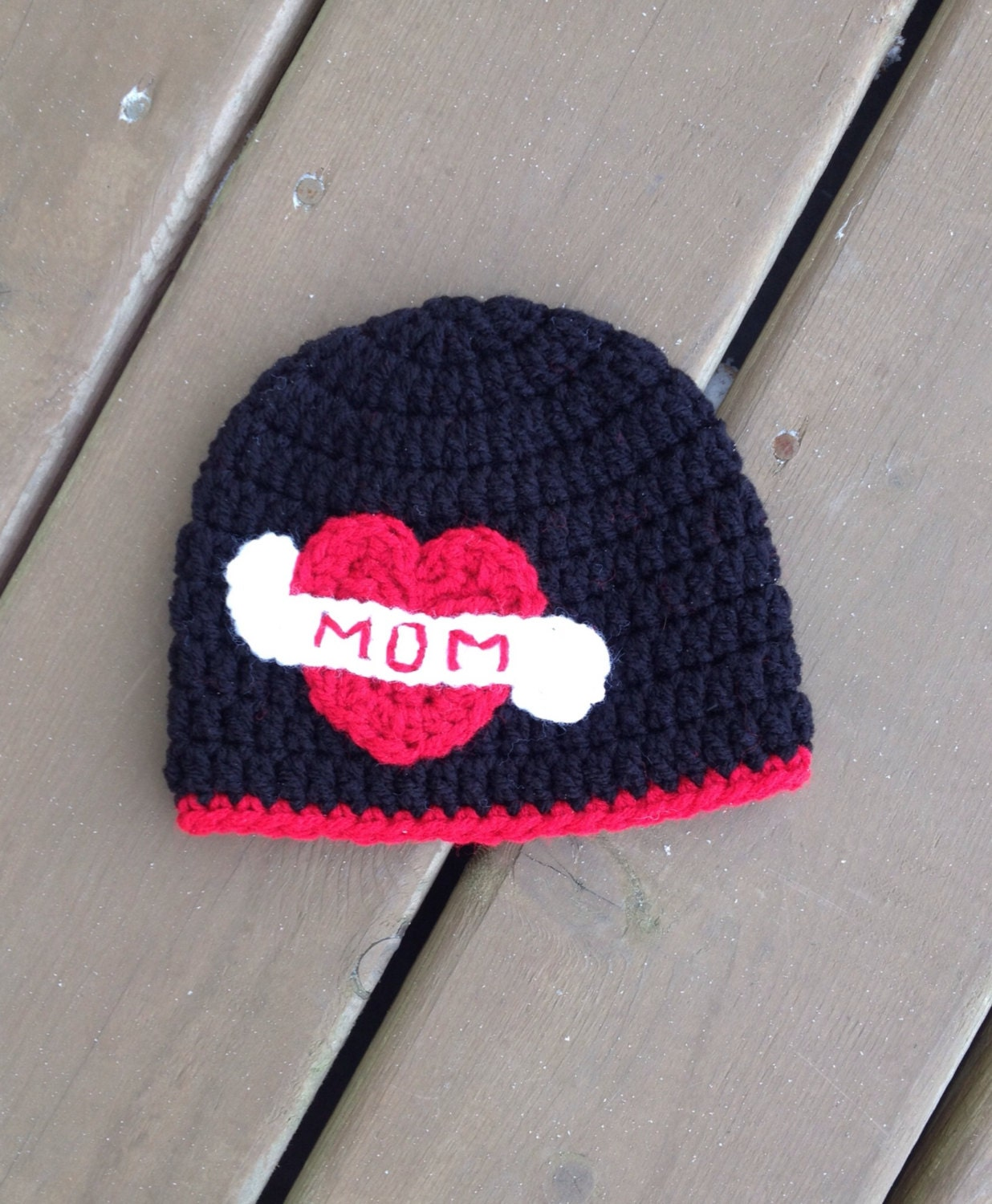 Valentines Day Hat I Love Mom Baby Hat Crochet by TheCrochetZoo