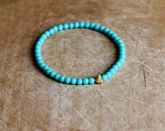 Turquoise Heart Bracelet - Boho Beaded Bracelet - Bohemian Jewellery