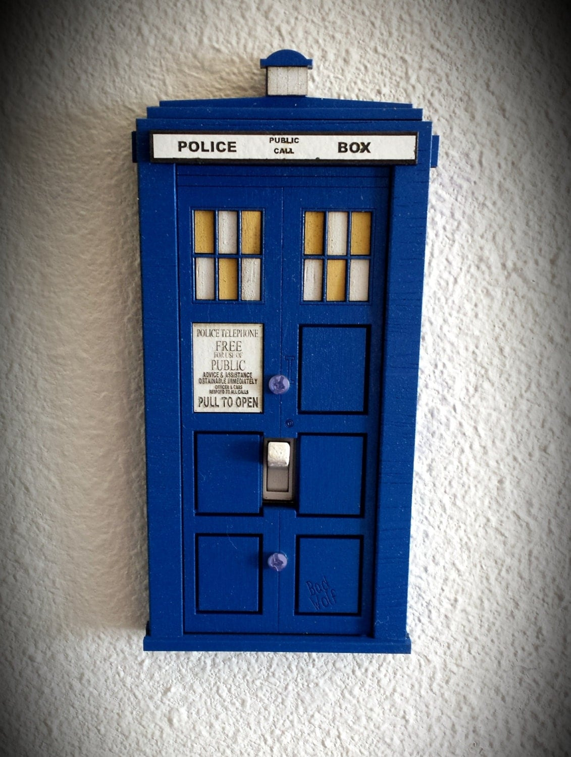 Doctor who tardis switch plate cover for Tardis light switch cover