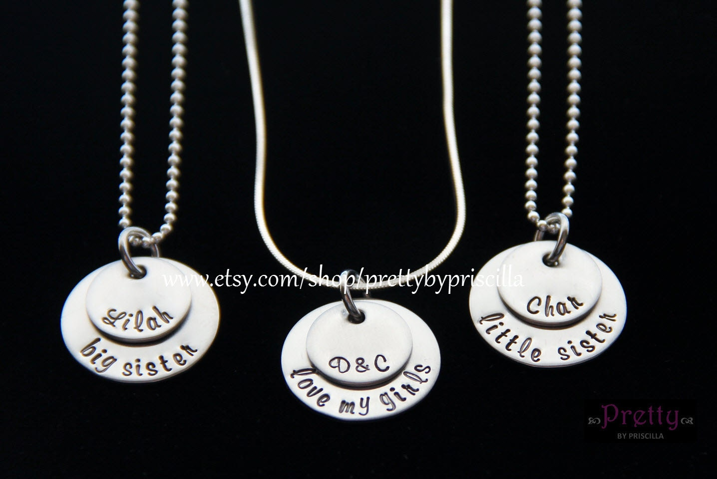 Mother Daughter Jewelry Necklace Set Sterling Silver Mother