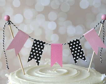Pink & Black Cake Bunting Pennant Flag Cake Topper-MANY Colors to Choose From!  Birthday, Wedding, Shower Cake Topper