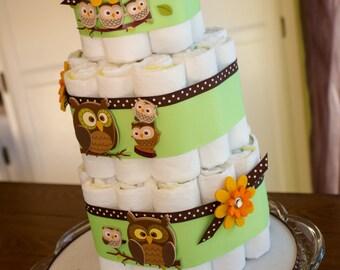 Owl Diaper Cake, Gender Neutral Diaper Cake, Brown and Green Diaper Cake, Baby Shower Cake, Baby Shower Centerpiece