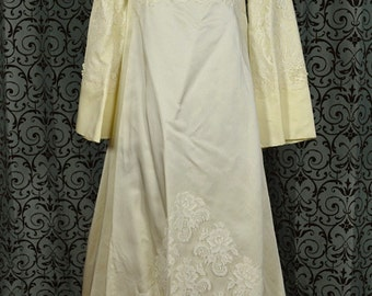 Vintage 1960s Alfred Angelo Lace Empire Wedding Dress Long Bell Sleeves Watteau Train, ILGWU