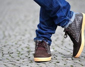 brown leather shoes US 9 and 10 men handmade sneakers Marapulai stars