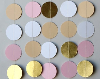 Bridal shower decorations, Bridal shower decor, Wedding decorations, Wedding garland, Gold, taupe, pink & white paper garland, KMCG-8503