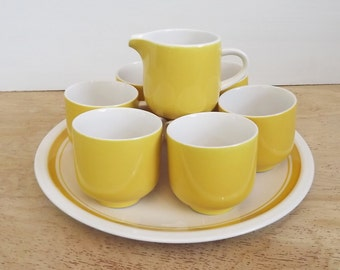 Vintage Set of 6 Beautiful Bright Yellow Premiere Colorama Coffee / Tea Mugs / Cups with Matching Creamer and Serving Plate - #D7300 Japan