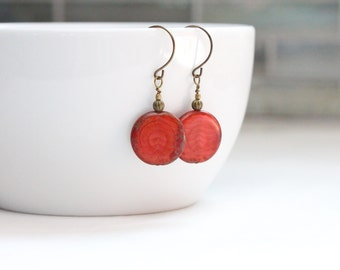 valentines day jewelry bold red earrings / red jewelry / dangle earrings / circle earrings / geometric jewelry / modern earrings