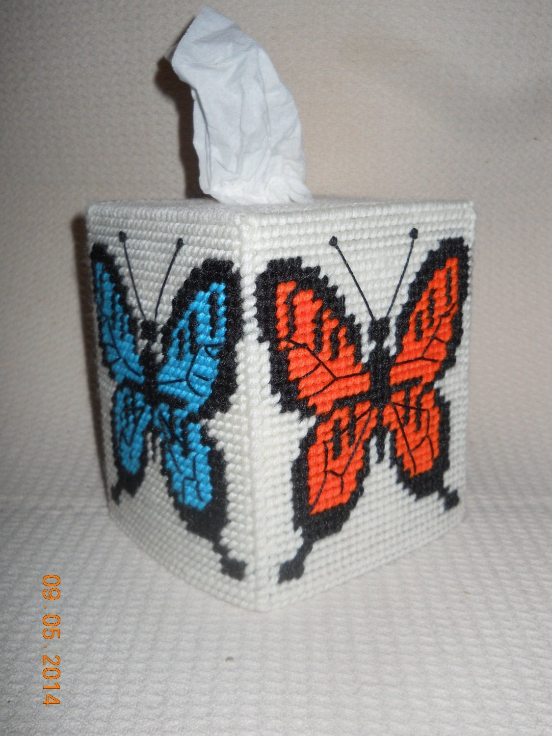 Butterfly Tissue Box Cover In Plastic Canvas