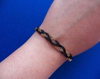 Black Braided Bracelet, Thin Gold Chain, Braided Jewelry, Satin Cord, Gift