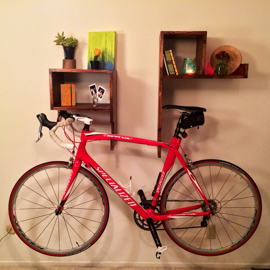 Wood bike rack on wall with shelf and cubby unique handmade Bicycle bookshelf