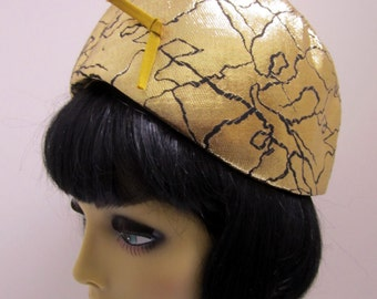 1960s Mod Hat Gold and Black Lame vintage bubble mod hat