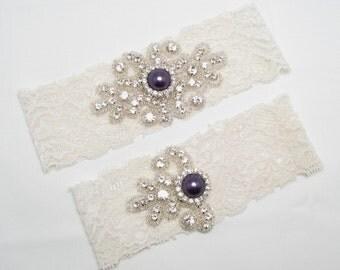 Purple Wedding Garter Lace Bridal Crystal Rhinestone Keepsake Toss Dark