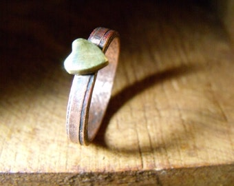 Ring - Cute Little Brass Heart and Copper Ring