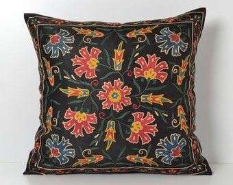 uzbek pillow suzani pillow throw pillow suzani housewares silk pillow uzbek silk accent pillow cover uzbekistan cushion suzani cushion cover