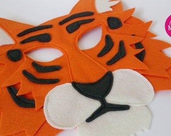 Terrance the Tiger - 100% wool Tiger mask for pretend play, costumes, or dress up.  Felt animal mask for make believe play.