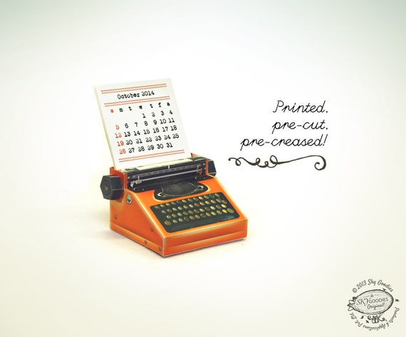 Printed 2015 and 2016 DIY Paper Desk Calendar | Realistic Typewriter Miniature | Printed, Pre-cut, Pre-creased & Ready-to-use