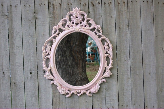 Shabby chic mirror pink white oval upcycled by thevintageartistry
