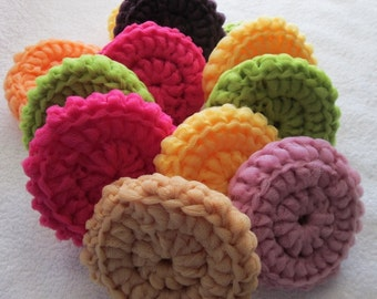 Scrubbies crocheted with tulle. Set of 3. Mix or match colors. 3 inches in diameter.