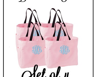 Monogrammed Bridesmaid Tote Bags - Set of 4 - Mix and Match Colors