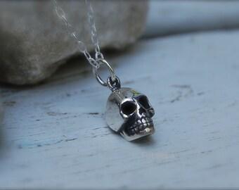 sterling silver 3-D skull necklace, Silver skull necklace,Skull necklace, minimalist necklace