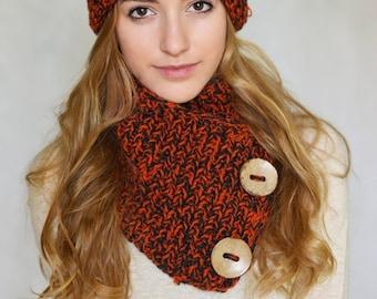 Hand Set Crochet Slouchy Beanie Hat & Clow Ginger Russet Foxy Button