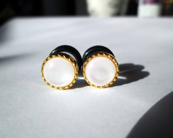 Gold Rimmed Opal Plugs - Available in 4g, 2g, and 0g