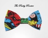Superhero Bow Tie, Clip on Bow Tie, Boys Bow Tie, Toddler Bow Tie, Infant Bow Tie