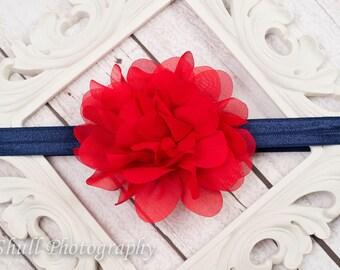 Red and Navy Chiffon headband, Baby Headband, Red Flower Girl Headband, Baby Girl Headband, 4th of July Headband, Infant Headband