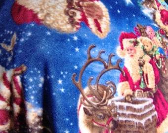 Santa Chimney Reindeer Rooftop Fleece Throw