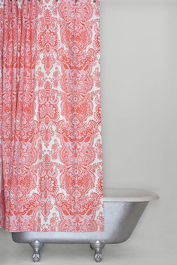 Extra Long Shower Curtain Pink Cotton Sateen By Emilyellingwood