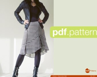PDF sewing pattern Women Asymmetric Skirt -Kinaco- (size 34-42)