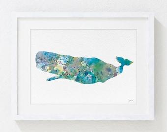 Blue Sperm Whale Painting, Watercolor Art - 5x7 Archival Print - Sea Art Prints, Minimalist Art - Wall Decor Art Home Decor, Housewares
