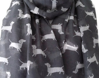 Dog Print Scarf , Grey and White Dachshund Print , Gray Sausage Dog Scarf , Sarong Shawl New Wrap