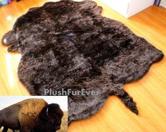 faux fur rug thick plush buffalo rug realistic shape rug modern shaggy rug  flokati style furry