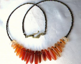 Bold statement ombré carnelian necklace. Long necklace, perfect 4 layering. Red, orange, yellow, cream & brown, Autumn hues. Collar jewelry