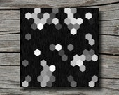 Modern art, black and white print, geometric art print, hexagon art, monochrome, honeycomb print, office decor, living room decor