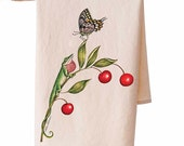 Organic Cotton Cherries and Lizard Teatowel