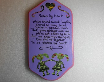 "Hand-painted ""Sisters by Heart"" poem on a Wooden Plaque"